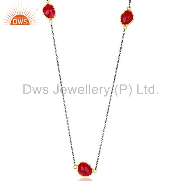 Pink Chalcedony Gemstone Gold Plated Silver Chain Necklace Manufacture