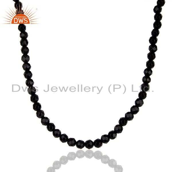 Black Onyx 4 MM Faceted Beads 24 Inch Sterling Silver Necklace