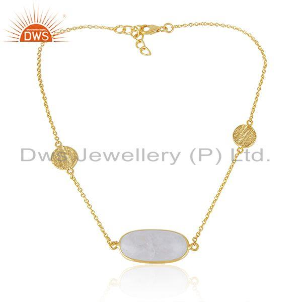 Handmade 925 Sterling Silver Gold Plated Rainbow Moonstone Necklace