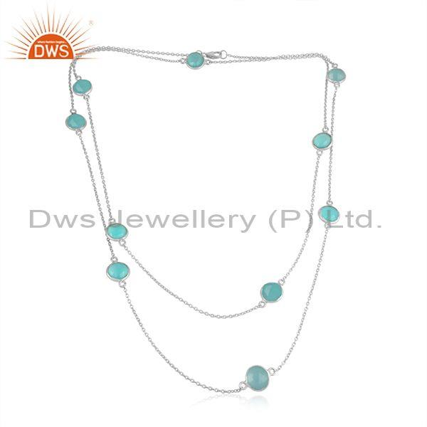 Handmade sterling silver long necklace with aqua chalcedony