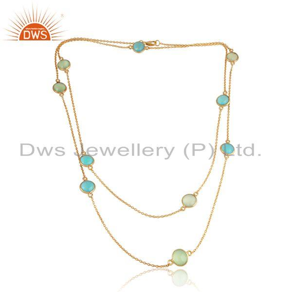 Aqua, Prehnite Chalcedony 18k Gold Plated Silver Chain Necklace