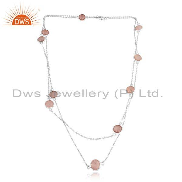 Handmade Sterling Silver Long Necklace with Rose Chalcedony