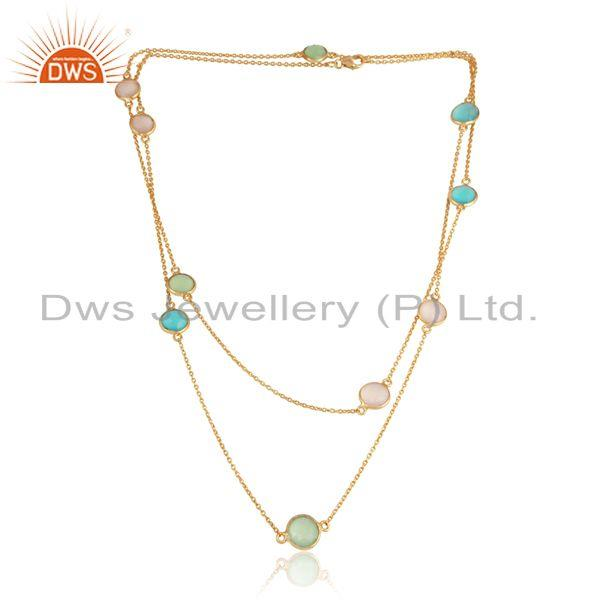 Yellow gold over silver necklace with aqua, prehnite and rose chalcedony