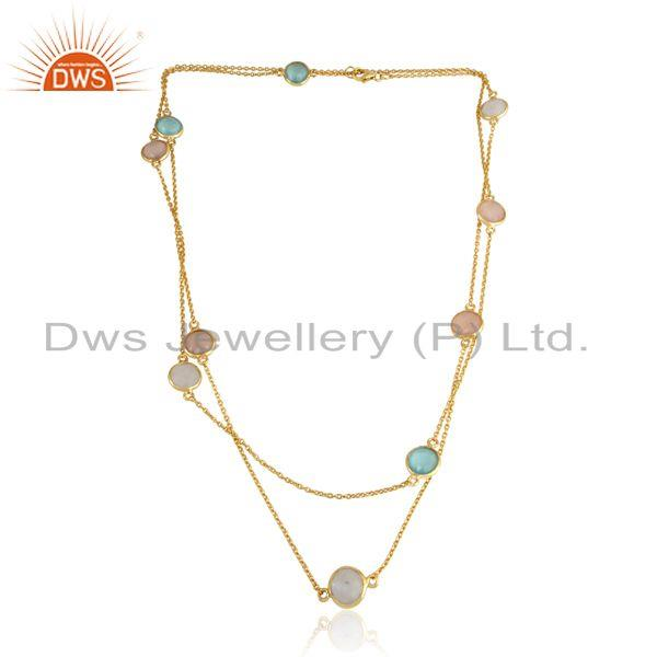 Gold on Silver Necklace with Aqua, Rose Chalcedony Rainbow Moonstone