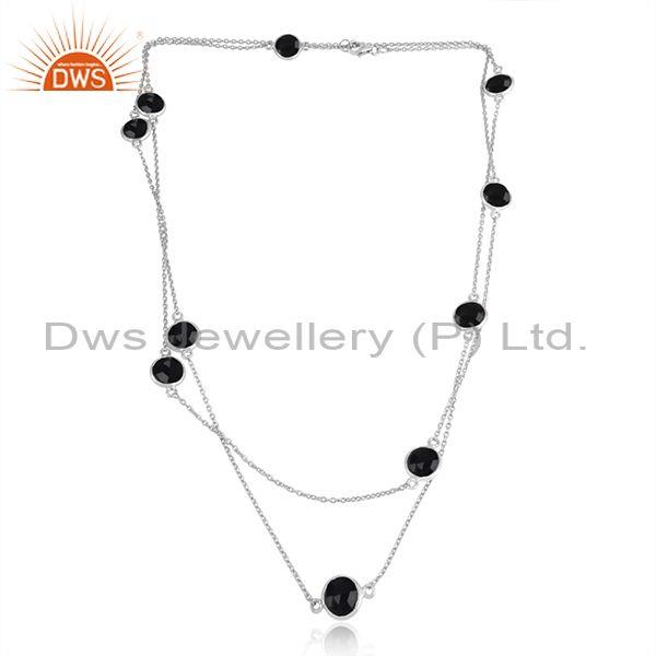 Handmade Sterling Silver Long Necklace with Black Onyx