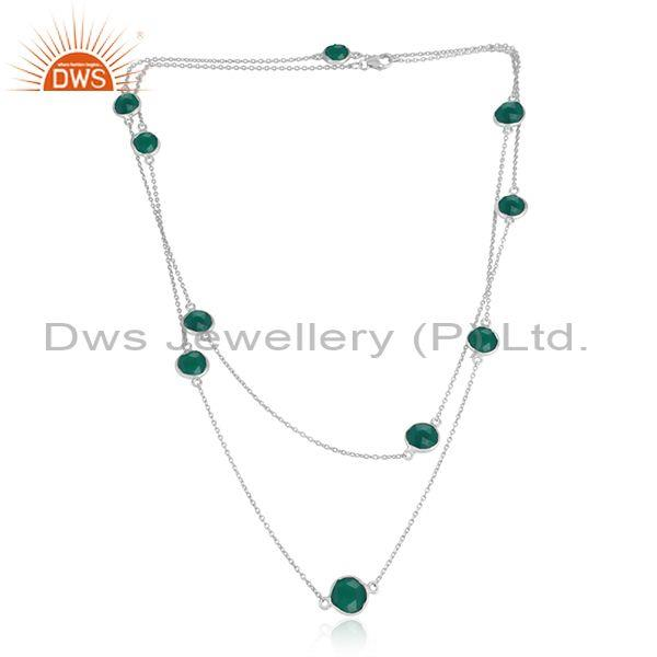 Handmade Sterling Silver Long Necklace with Green Onyx