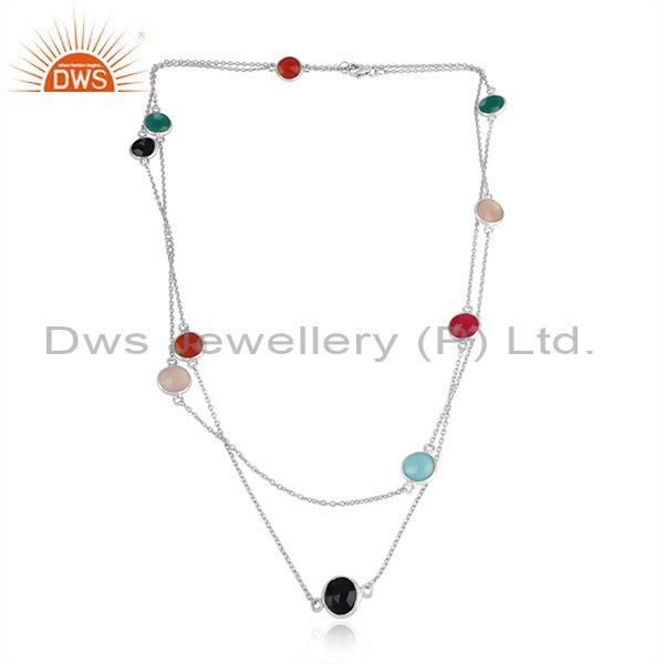 Handmade Silver Long Necklace with Multi Chalcedony Onyx