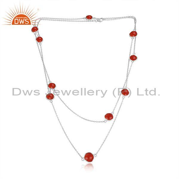 Handmade Sterling Silver Long Necklace with Red Onyx