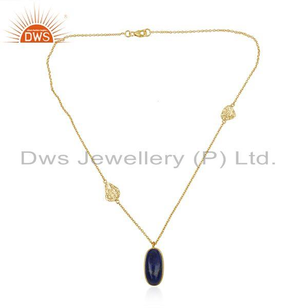 Lapis Lazuli Gemstone Pendant 925 Silver Gold Plated Chain Jewelry