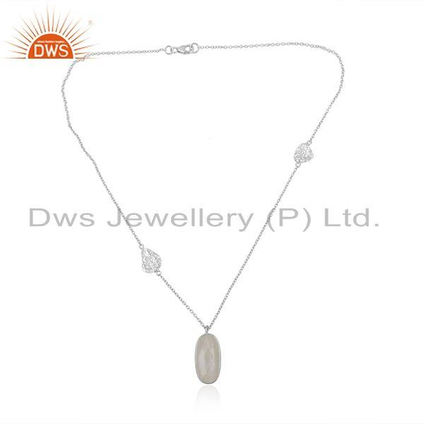 Handmade Fine Sterling Silver Chain Moonstone Rainbow Pendant Supplier