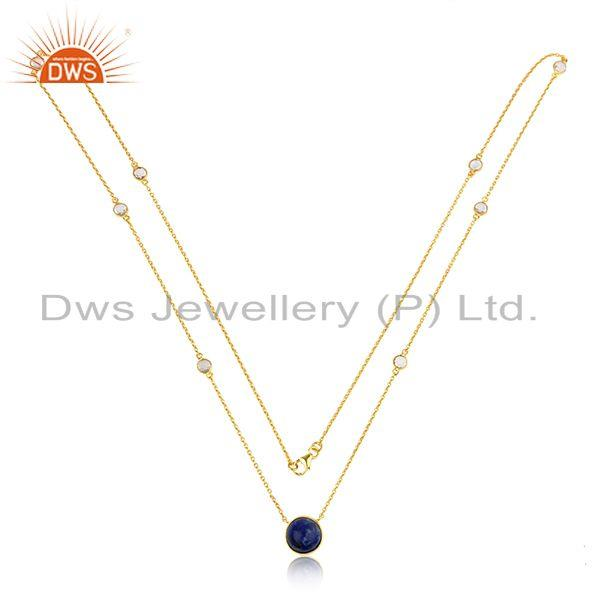 CZ Lapis Lazuli Gemstone Gold Plated Silver Designer Chain Necklaces