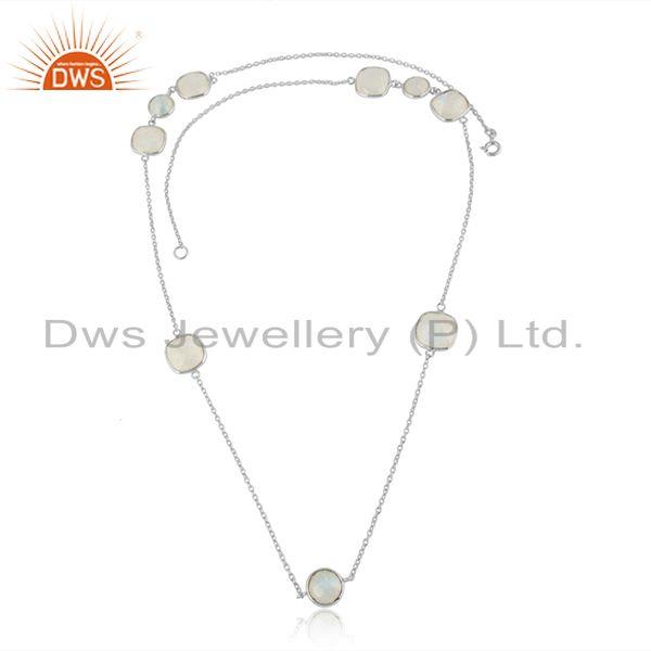 Fine Sterling Silver Chain Rainbow Moonstone Gemstone Necklace
