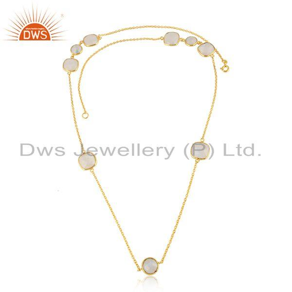 Rainbow moonstone gemstone gold plated silver chain necklace