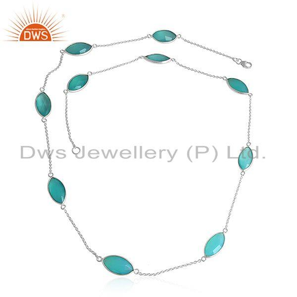 Aqua Chalcedony Gemstone 925 Sterling Silver Womens Chain Necklaces