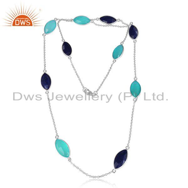 Aqua Chalcedony Lapis Gemstone 925 Fine Sterling Silver Necklaces