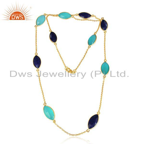 Lapis Aqua Chalcedony Gemstone Gold Plated Silver Necklaces