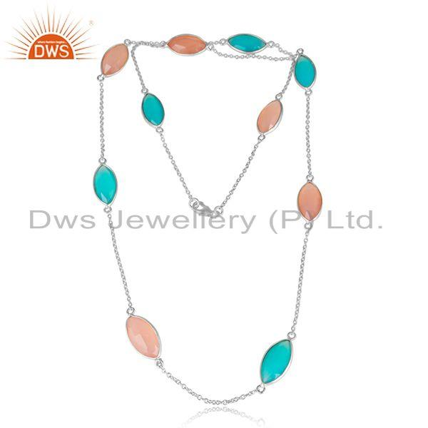 Aqua and Rose Chalcedony Gemstone 925 Sterling Silver Necklaces