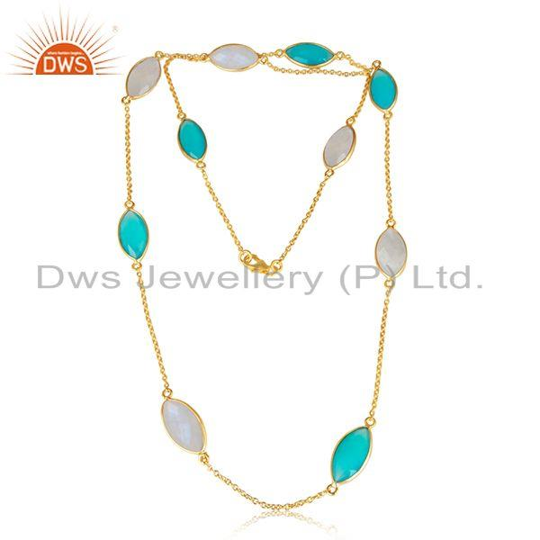 Chalcedony Rainbow Moonstone Designer Gold Plated Silver Necklace