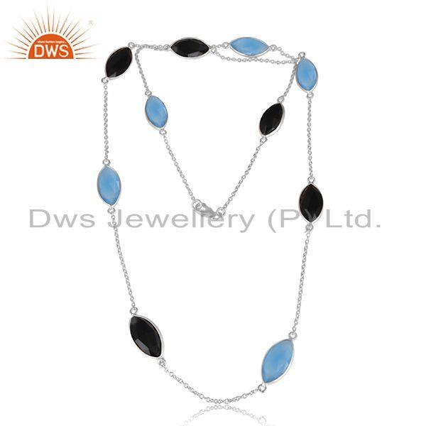 Blue Chalcedony Black Onyx Gemstone Girls Fine Silver Necklace