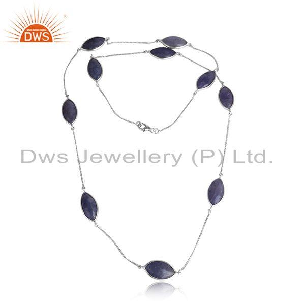 Tanzanite Gemstone Designer White Rhodium Plated Silver Necklace