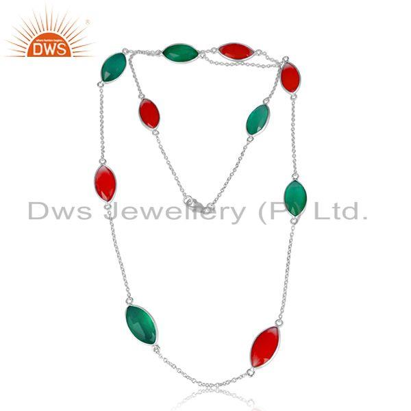 Green and Red Onyx Gemstone 925 Sterling Fine Silver Necklace