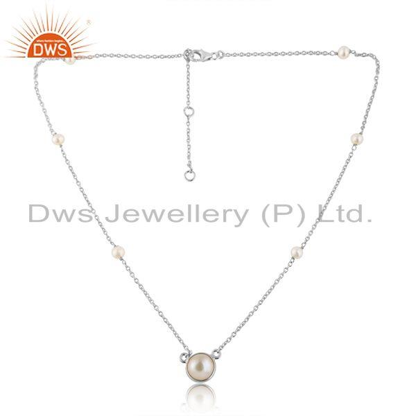 Natural Pearl Gemstone Designer 925 Fine Silver Chain Necklace