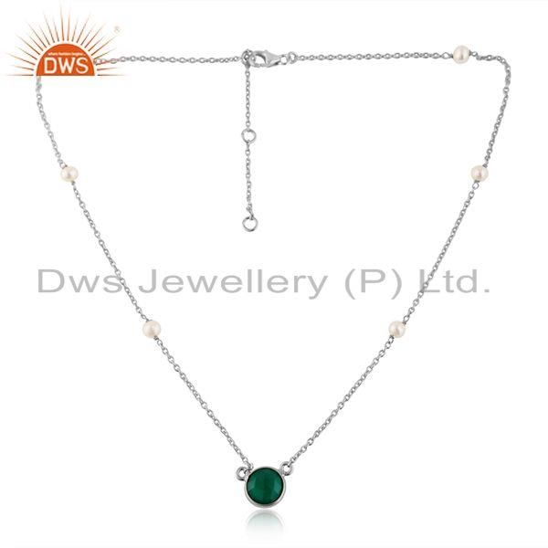 925 fine silver natural pearl and green onyx gemstone necklace