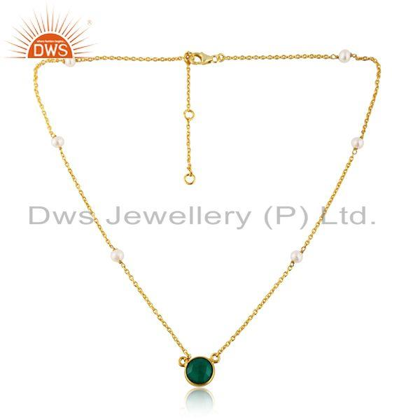 Pearl Beaded Green Onyx Gemstone Gold Plated Silver Chain Necklace
