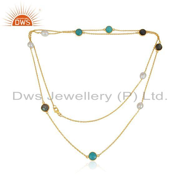Multi Gemstone Designer Gold Plated Silver Womens Chain Necklace