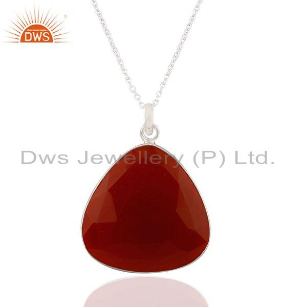 "Natural Semi Precious Stone Red Onyx 925 Sterling Silver Pendant With 16"" Chain"