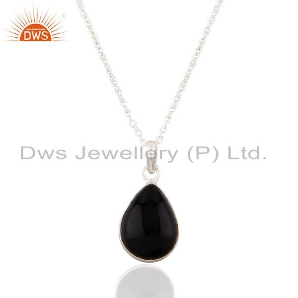 """16"""" inch chain top quality cabochon black onyx gemstone sterling silver pendant"""