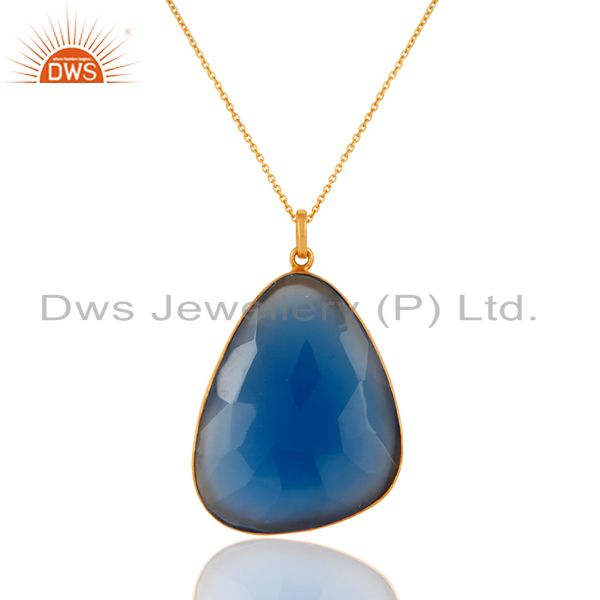 Sterling Silver Bezel Set Blue Chalcedony Gemstone Pendant Chain - Gold Plated