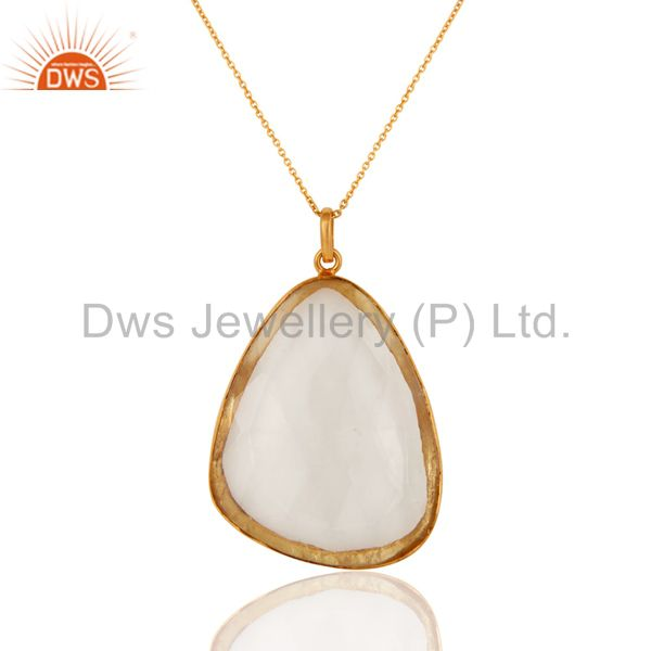 18K Yellow Gold Plated Sterling Silver Crystal Quartz Pendant With Chain