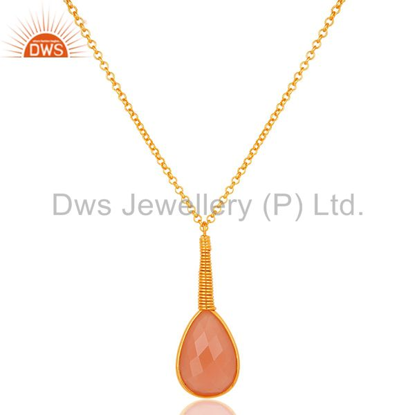 18k gold plated sterling silver handmade dyed chalcedony bezel set chain pendant