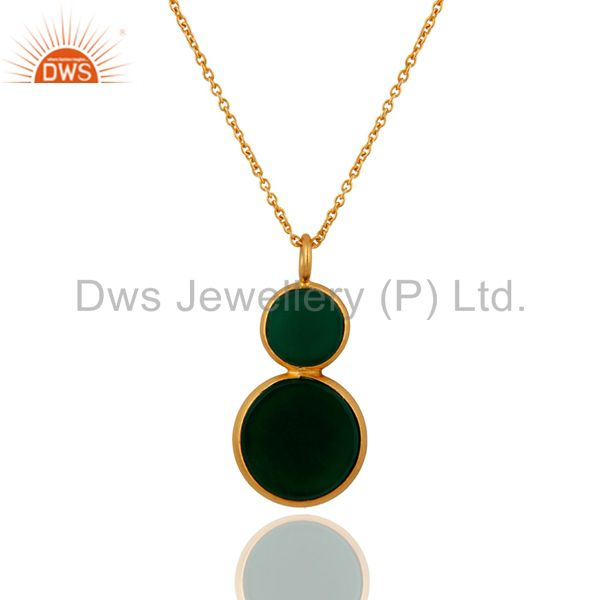 925 Sterling Silver Green Onyx Gemstone Fashion Pendant Gold Plated Jewelry