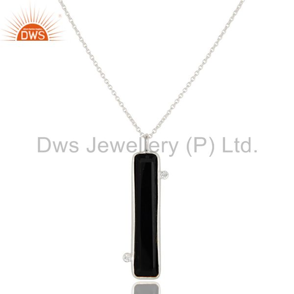925 Sterling Silver Black Onyx Gemstone Pendant With Chain Necklace