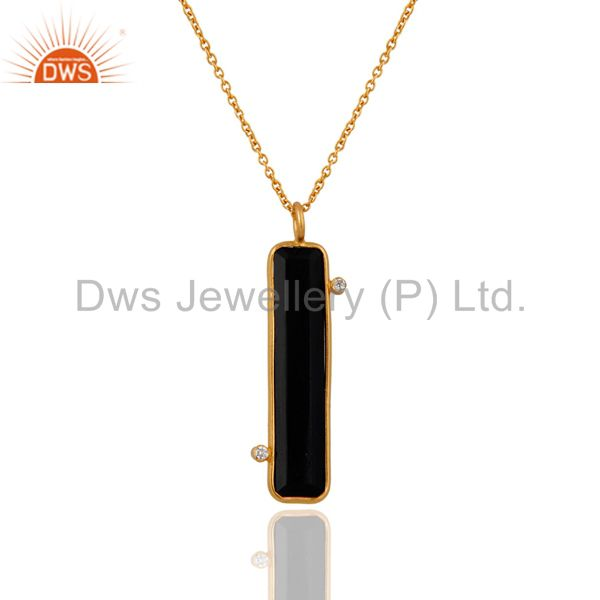 22K Gold Over Sterling Silver Black Onyx Slice Gemstone & CZ Designer Pendant