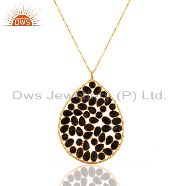 18k yellow gold plated sterling silver black onyx gemstone pendant w/- 16