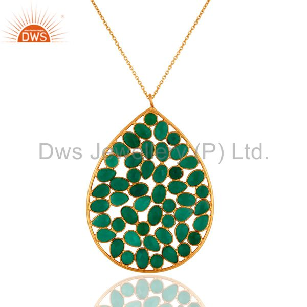 "18K Gold Plated Sterling Silver Green Onyx Gemstone Pendant With 16"" Inch Chain"