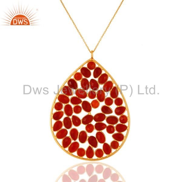 Gold Plated Sterling Silver Red Onyx Gemstone Elegant Pendant With 16