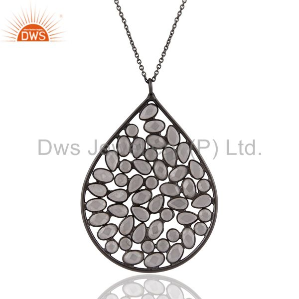 "925 sterling silver rhodium plated white cubic zirconia pendant 17"" inch chain"