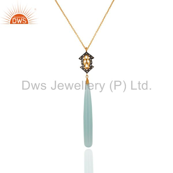 18K Yellow Gold Plated Sterling Silver Aqua Chalcedony & cz Pendant With Chain