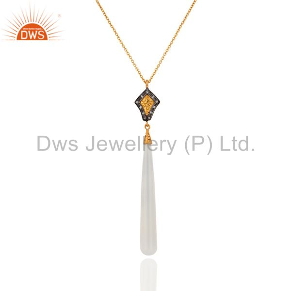 18K Yellow Gold Plated Sterling Silver White Chalcedony & CZ Pendant With Chain