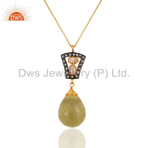 18K Yellow Gold On Sterling Silver Lemon Topaz Briolette Drop Pendant With Chain