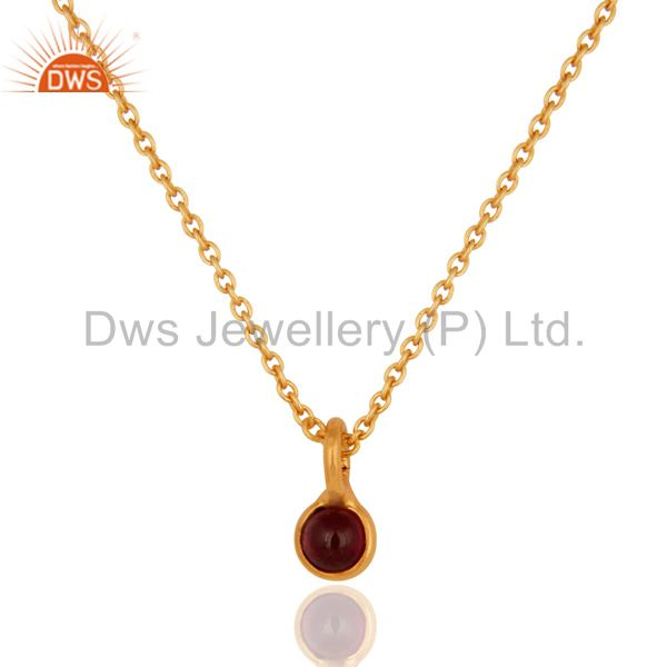"Natural Garnet Gemstone 18K Gold Over Sterling Silver Pendant With 16"" In Chain"