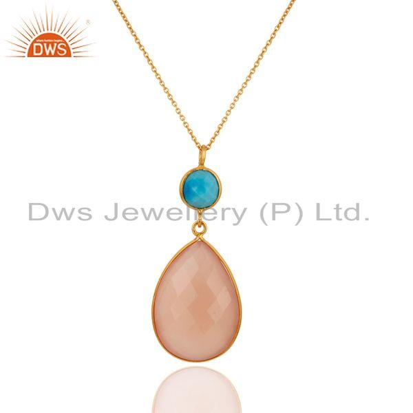 18K Gold Over 925 Sterling Silver Natural Chalcedony Gemstone Pendant With Chain