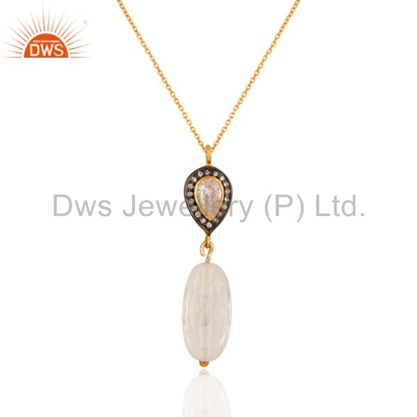 Natural Crystal Quartz And Cubic Zirconia 925 Sterling Silver Pendant With Chain