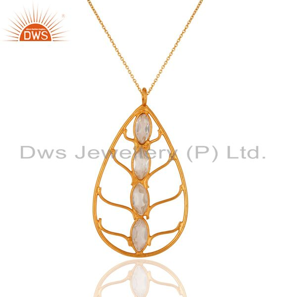 22K Yellow Gold Plated 925 Sterling Silver Cubic Zriconia Pendant Necklace