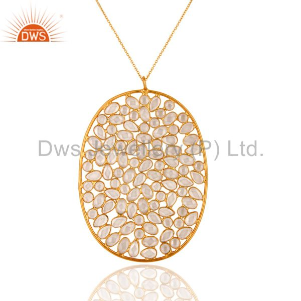 18K Yellow Gold Plated Sterling Silver Cubic Zirconia Bezel-Set Designer Pendant