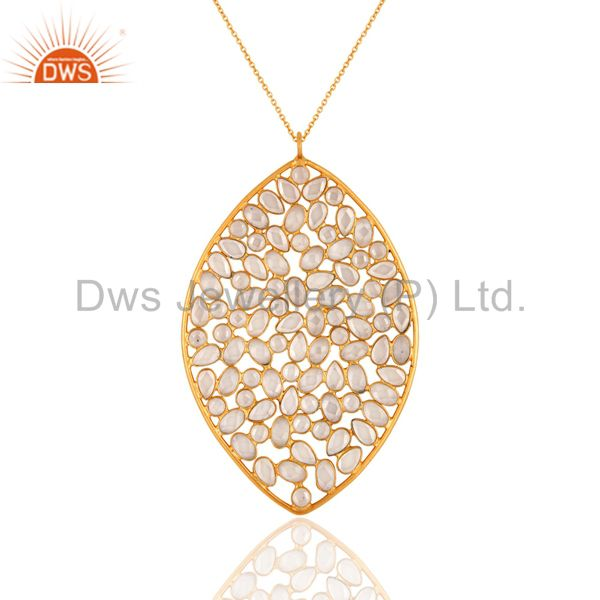 White Cubic Zirconia Yellow Gold Plated Sterling Silver Pendant With Chain